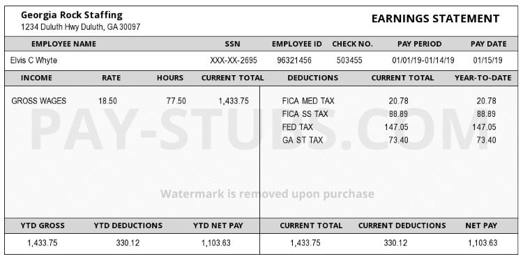 Create A Pay Stub Payroll Template Generation Birth Certificate Template