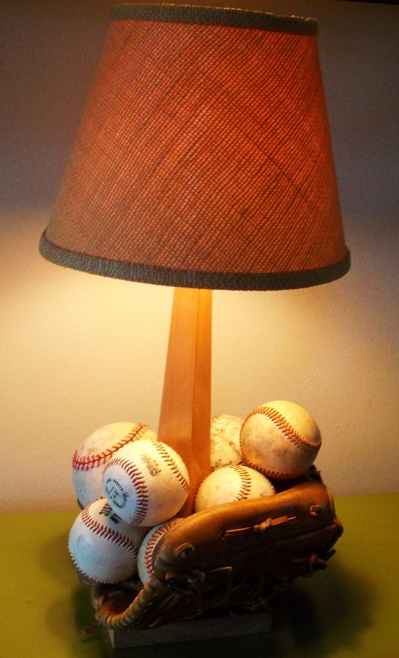 Handmade Table Lamp Sports Baseball Vintage Balls Glove