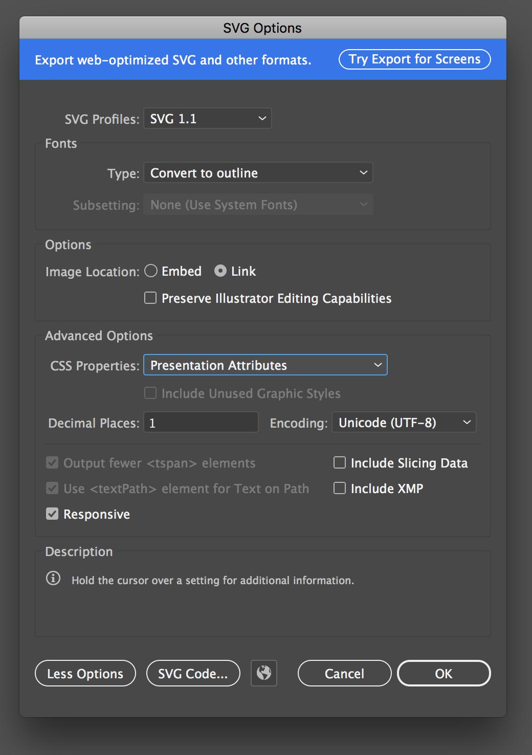 Adobe Illustrator Export Options Illustration, Css