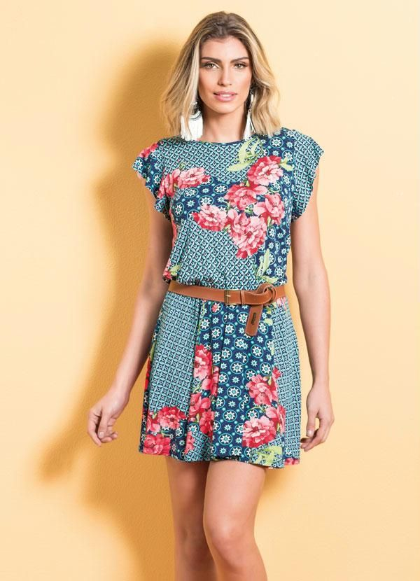 2cbedd743 Moda Feminina : VESTIDO MIX FLORAL QUINTESS ACINTURADO | Moda ...