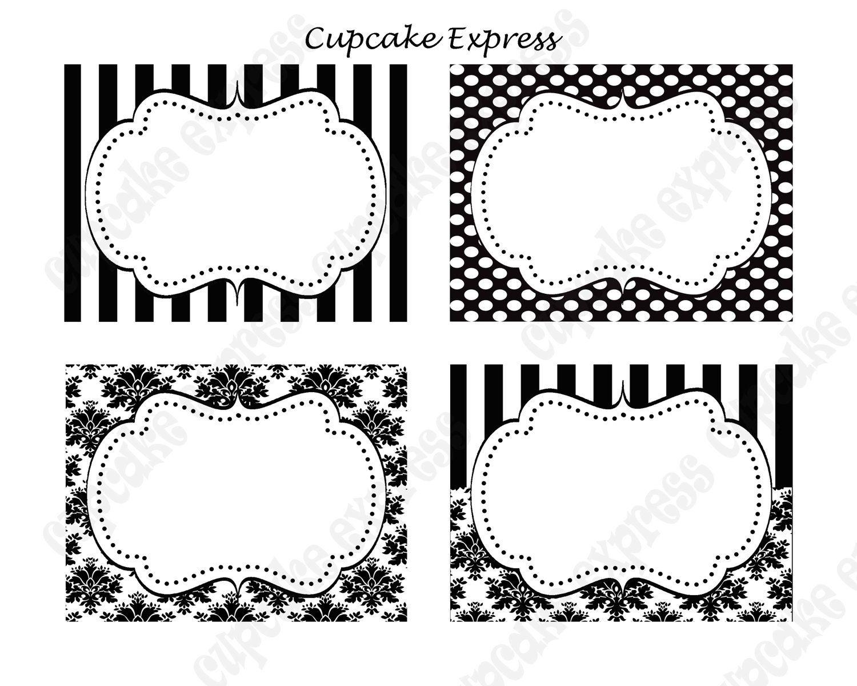 diy paris black & white damask stripe polka dots printable party