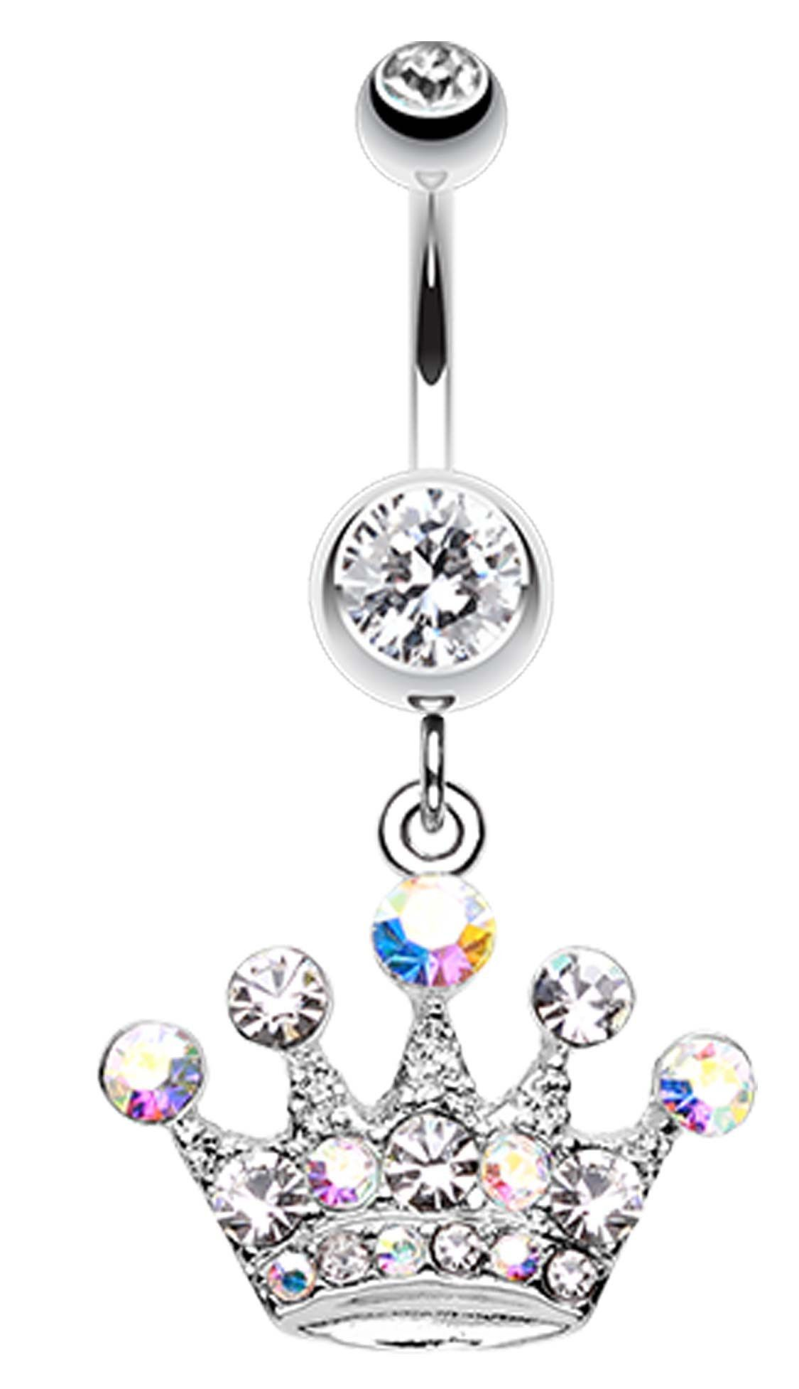 Nose piercing earrings  Crown Jewel MultiGlassGem Belly Button Ring  Crown jewels Belly