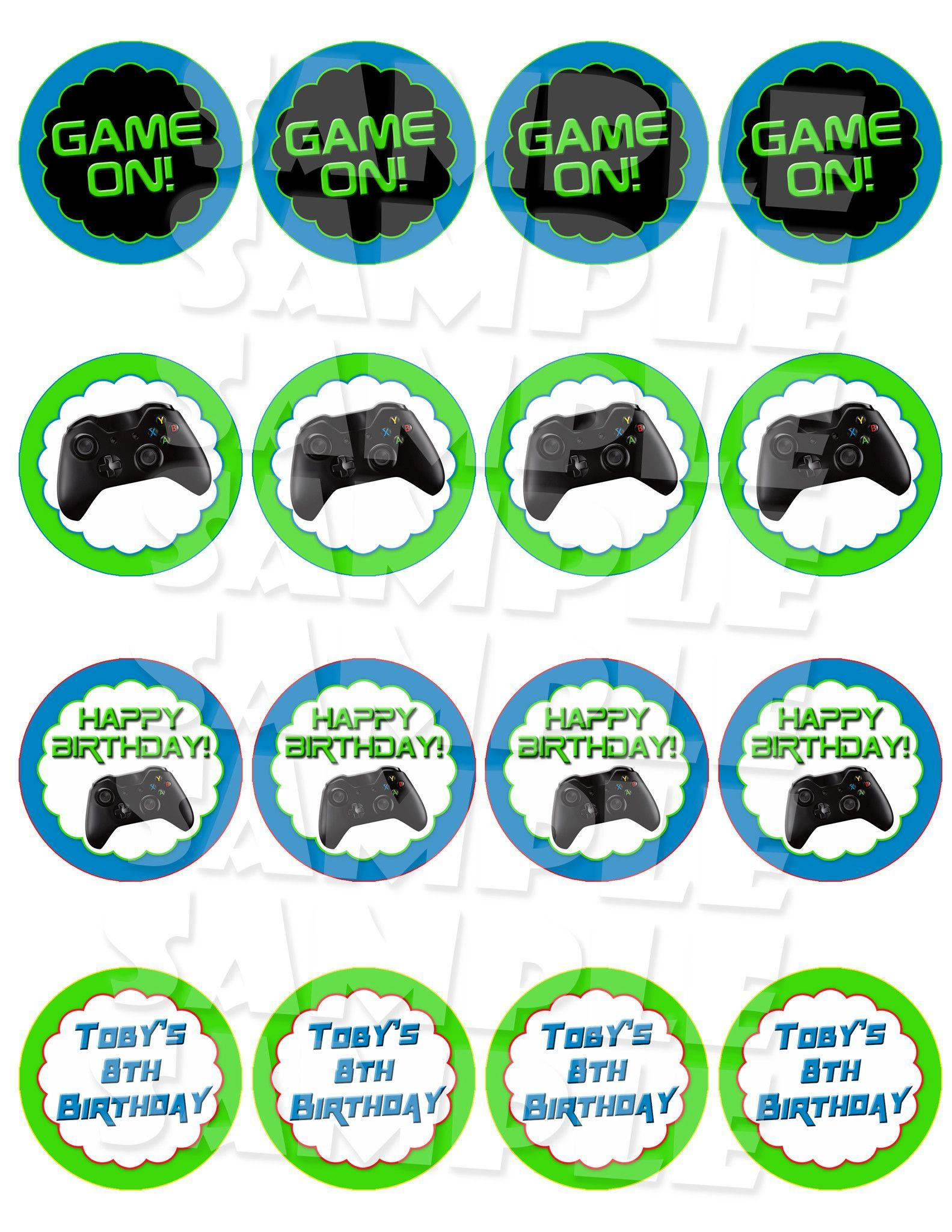 Video Game Birthday Cupcake Toppers Birthday games
