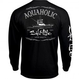 The Salt Life Aquaholic long sleeve tee features a screenprinted logo on the left chest, back and sleeve. This tee is made from preshrunk ringspun 30 singles cotton to provide a comfortable fit.