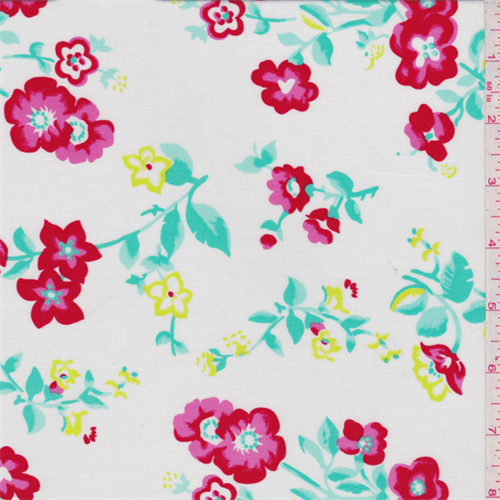 White/Red Floral Challis - 30829 - | Discount By The Yard | Fashion Fabrics
