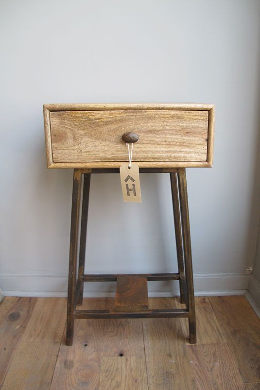Stool Bedside Table: Bedside Table Metal, Rustic