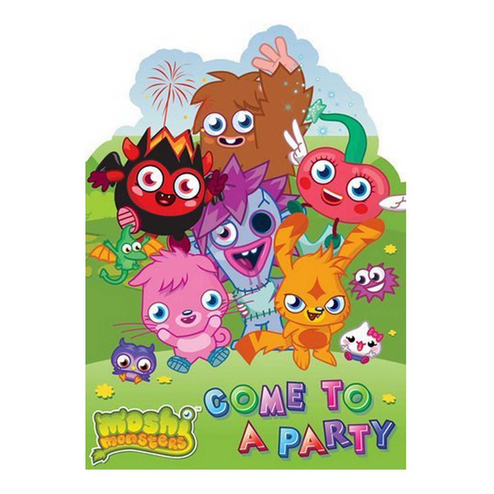 Gemma moshi monsters paper party invitations pack of 8