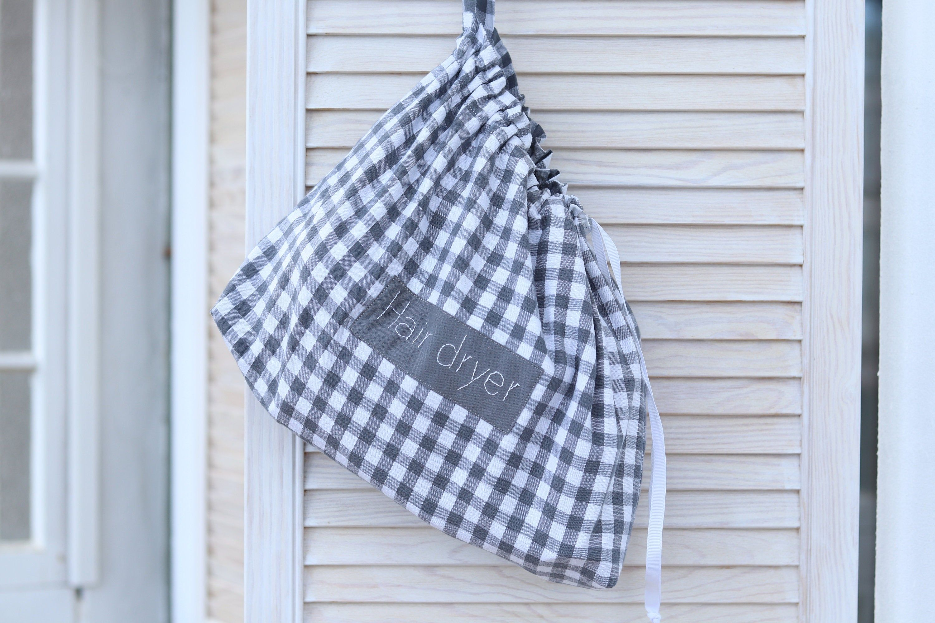 Hair Dryer Bag Checkered Hair Dryer Holder Personalized Blow