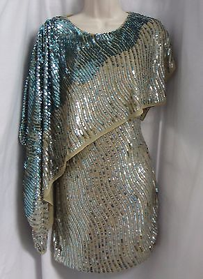 """""""ALBERTO MAKALI"""" TEAL OMBRE COCKTAIL MINI FULL SEQUINED DRESS SIZE: 2 NWT"""