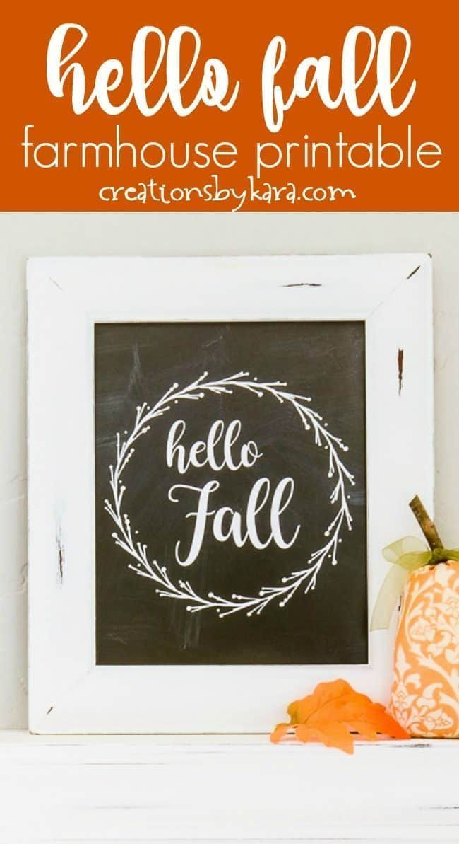Free Hello Fall Chalkboard printable - download this free farmhouse style fall printable for quick home decor! Chalkboard or black and white farmhouse fall printable art. #hellofall #fallprintable #fallart #fallhomededor #hellofallprintable #fallfarmhouse #creationsbykara #hellofall