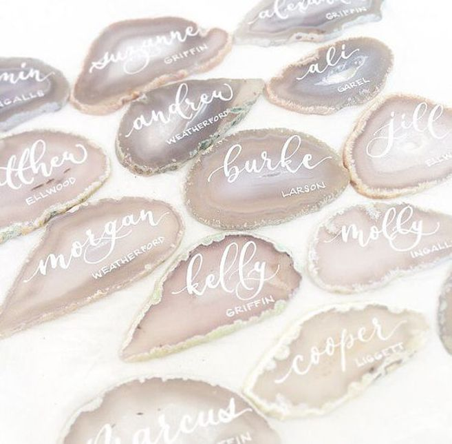 Create a boho feel for your escort cards with stunning agate slices like these.