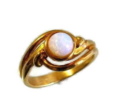 Vintage Avon Fire Opal Gold Tone Ring Fiery Opalesque