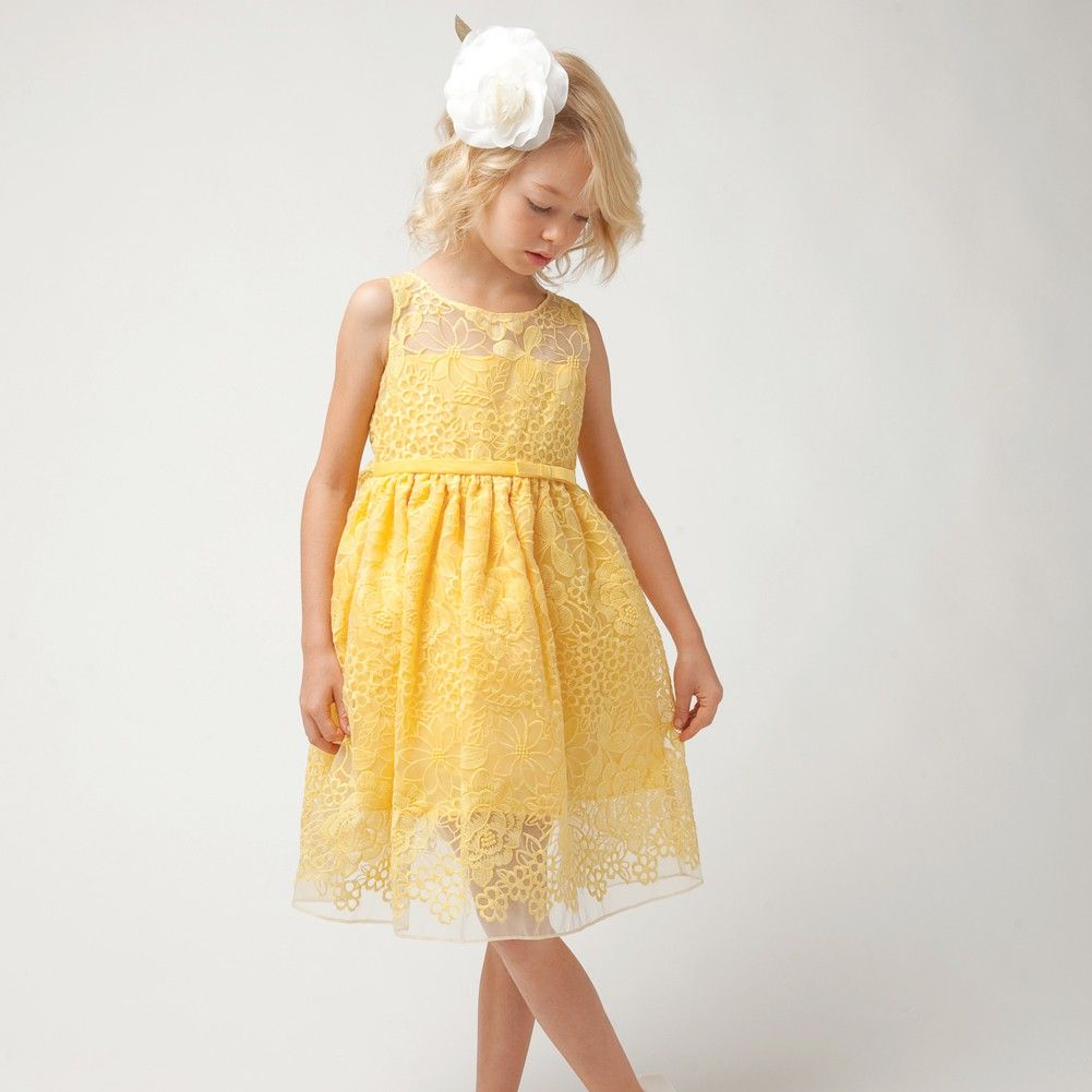 Sweet Kids Yellow Embroider Lace Overlay Easter Dress Girl 4-12 ...