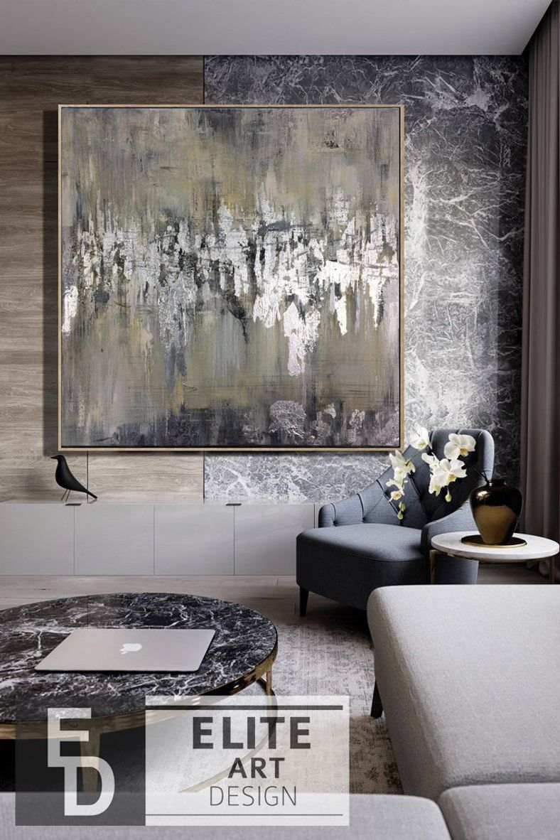Abstract Painting Large Silver Leaf Painting On Canvas Brown Etsy Oil Painting Abstract Abstract Canvas Wall Canvas Painting #silver #wall #decor #for #living #room
