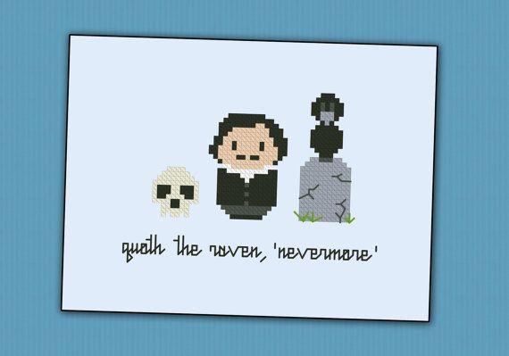 Edgar Allan Poe Nevermore Cross Stitch Pdf Pattern Puntos De