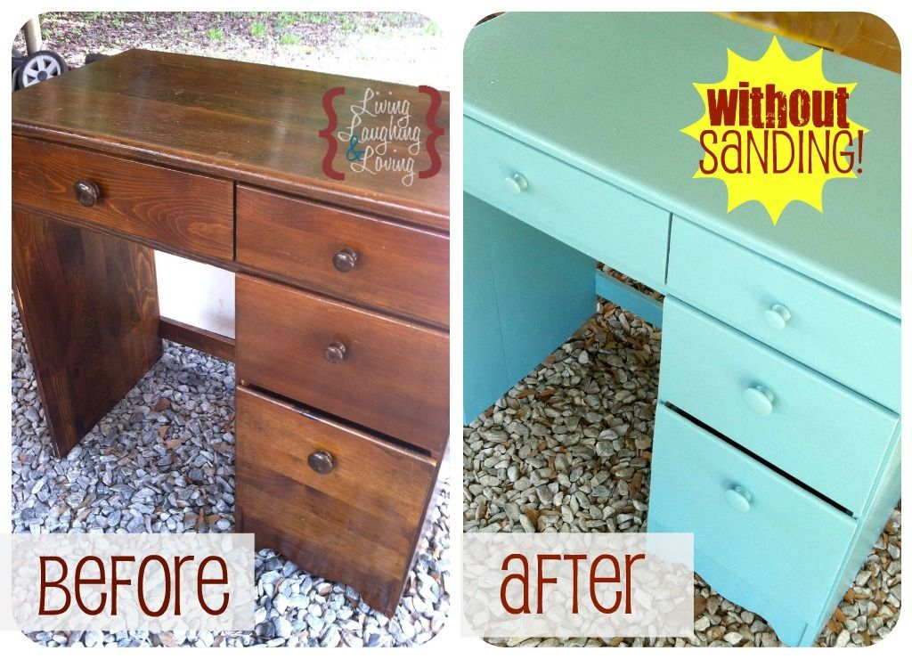 Livinglaughingandloving Thrift Desk Before And After Without Sanding Supplies Zinsser Cover Stain