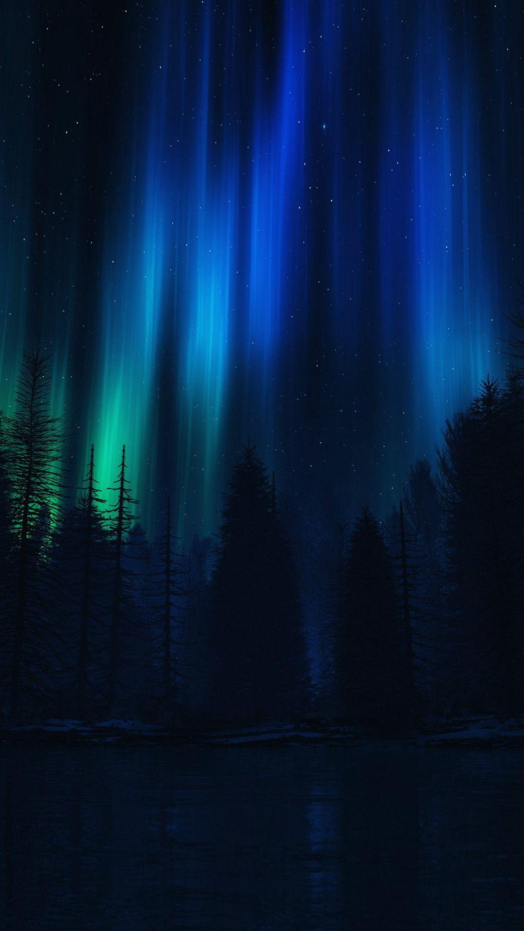 Aurora Night Sky Dark Blue Nature Art Iphone 6 Plus Wallpaper