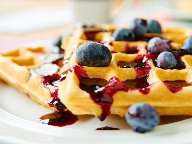 These crisp, delicious low calorie waffles are so good they can stand on their own feet, but we also like to add blueberries for a little extra sweetness and nutrition.