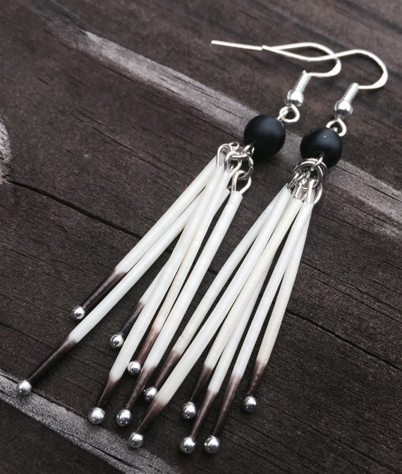 Matte onyx native porcupine quill earrings by PointPlum on Etsy