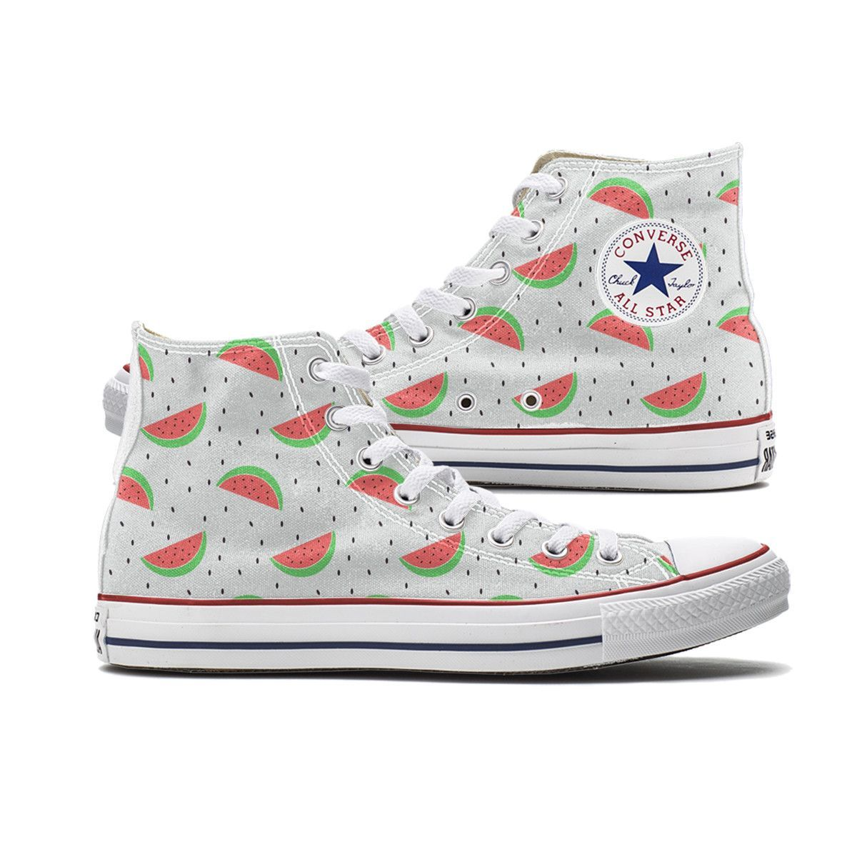 33e272d6379 Watermelon Converse High Top chucks are here and made to order especially  for you. These Chucks feature a Watermelon pattern over both panels of the  shoe.