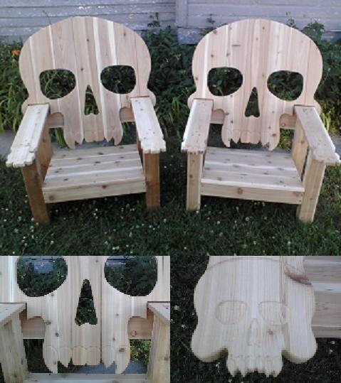 skull adirondack chair red wood cedar custom skull patio chairs
