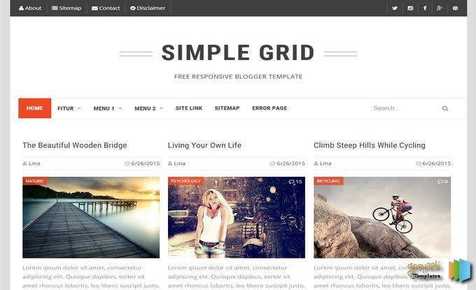 Simple Grid Blogger Template Blogger Templates Blogspot Template Responsive Blogger Template