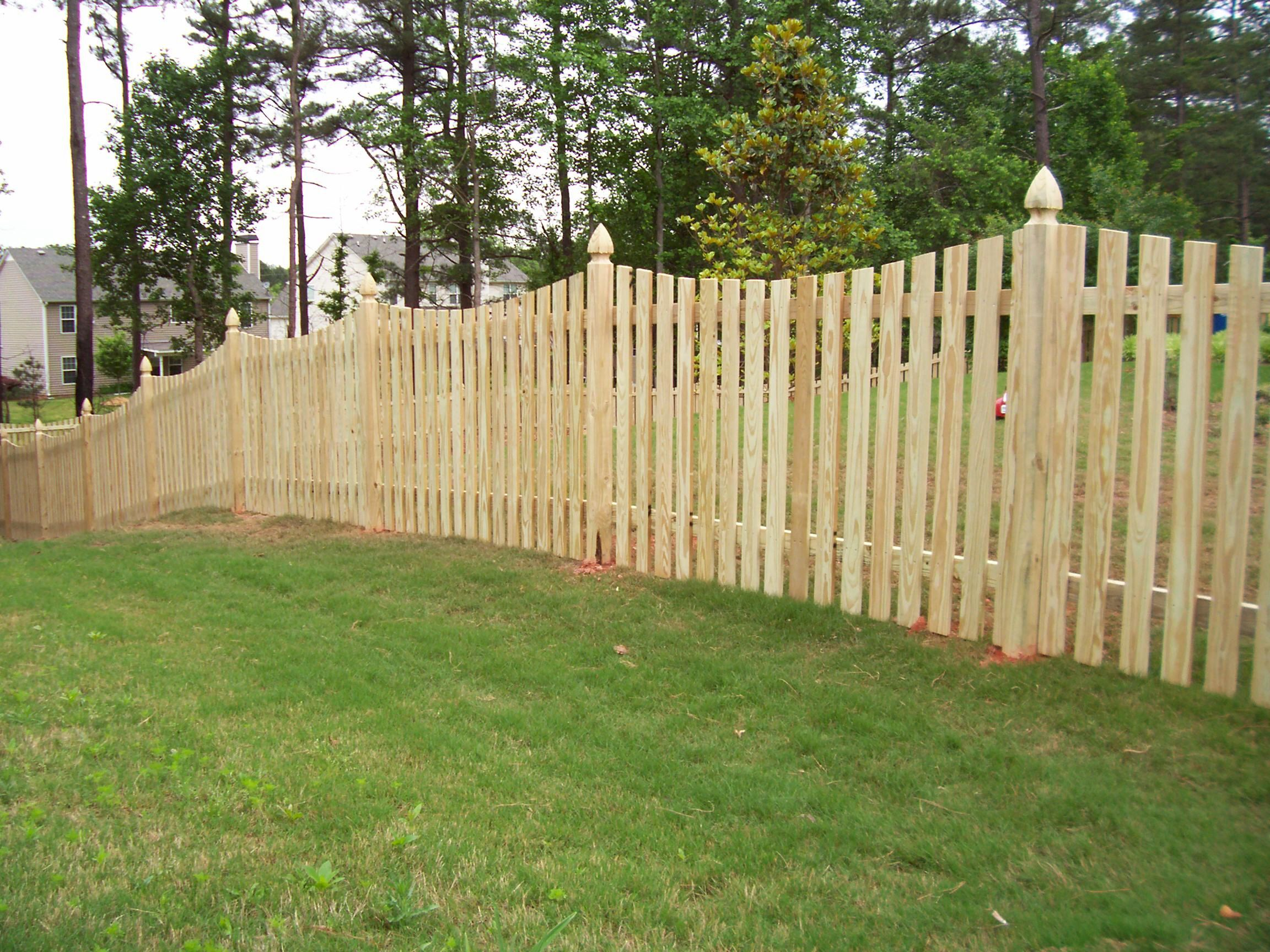 Scalloped cedar pickets with 4x4 post wood picket fence wood scalloped cedar pickets with 4x4 post wood picket fence baanklon Gallery