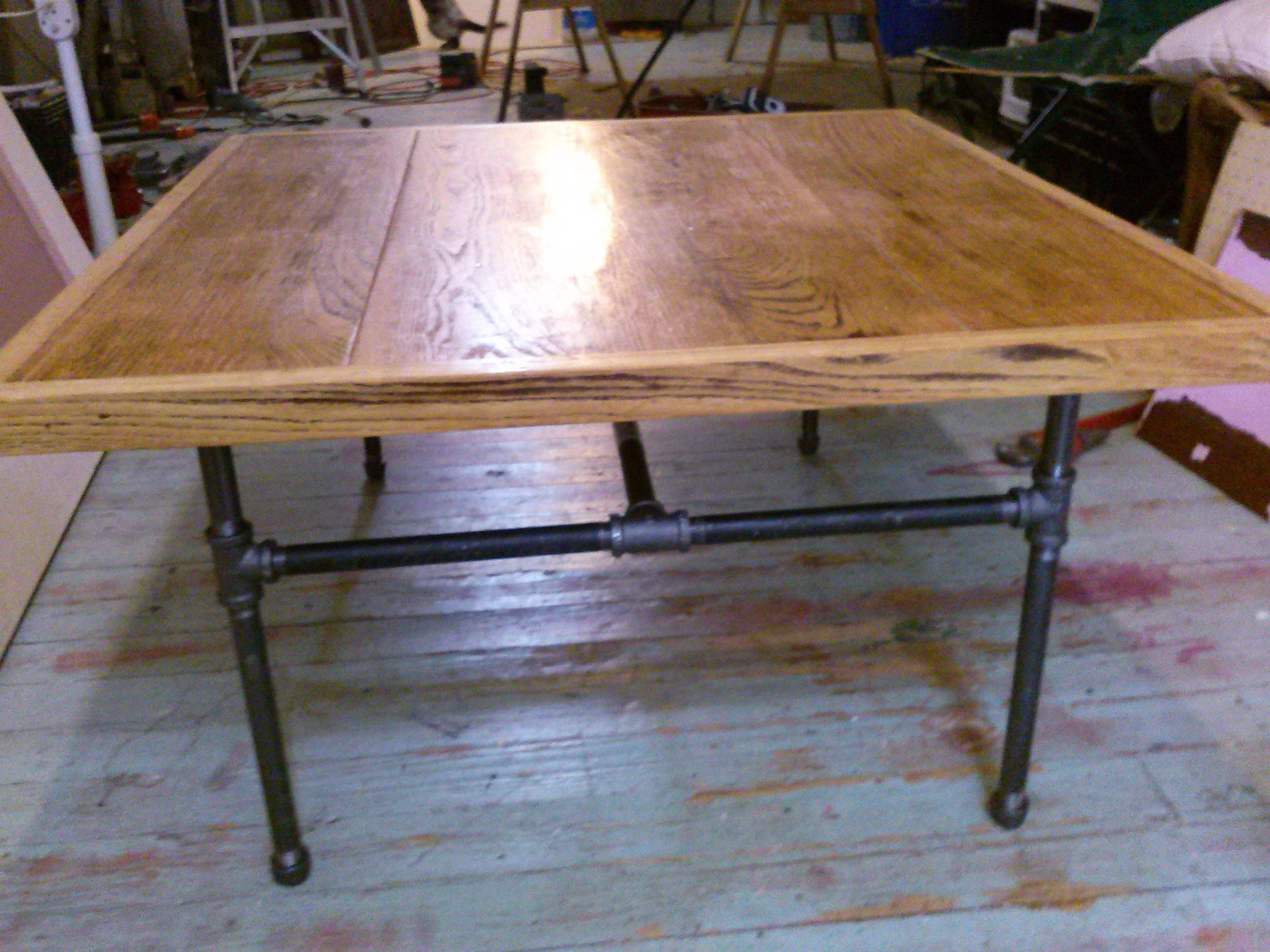 hand made coffee table from reclaimed oak from trashstudio in