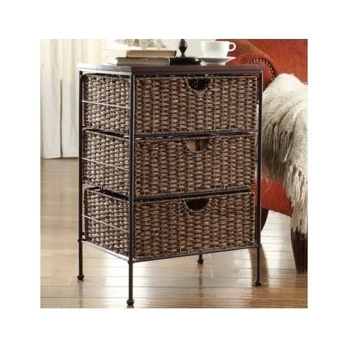 Wicker End Table Night Stand Storage Chest Drawer Wood Bedroom