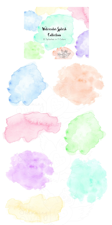 Watercolor Splash Clipart Clip Art Wedding Graphics
