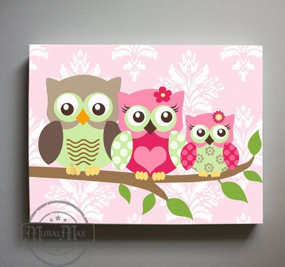 Art For Kids Room Owl Decor S Wall Canvas