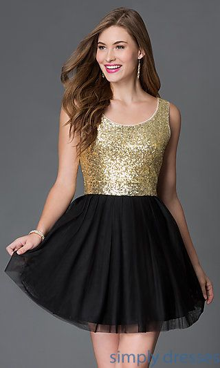 Short Sequined Black and Gold Bee Darlin Dress | Gold cocktail dress