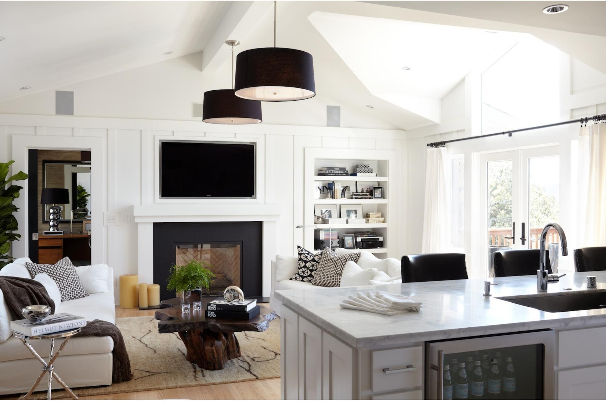 vaulted ceiling white drum shade pendants neutrals