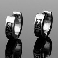 Wish | Black Anodized Stainless Steel Pirate Skull Crossbones 4mm Hoop Earrings Pair (Color: Silver)