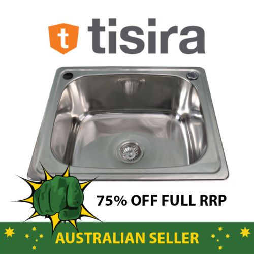 Tisira 35 Litre Single Bowl Laundry Tub Sink Tlle35 With Overflow
