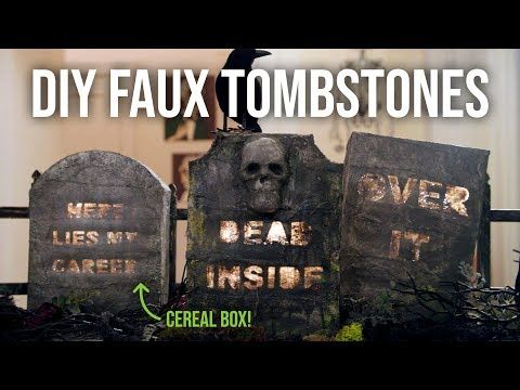 DIY Faux Tombstones from a Cereal Box - Easy Halloween Decoration