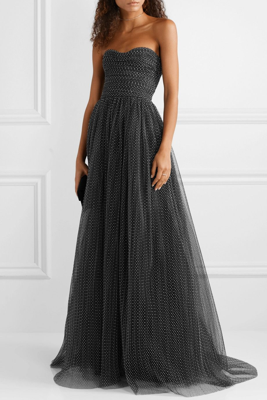 822f036a4b9f0 Monique Lhuillier | Strapless ruched Swiss-dot tulle gown | Fashion ...