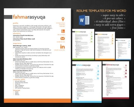 Iconic modern Word #resume #pack -    luvly items 4004 - modern word templates