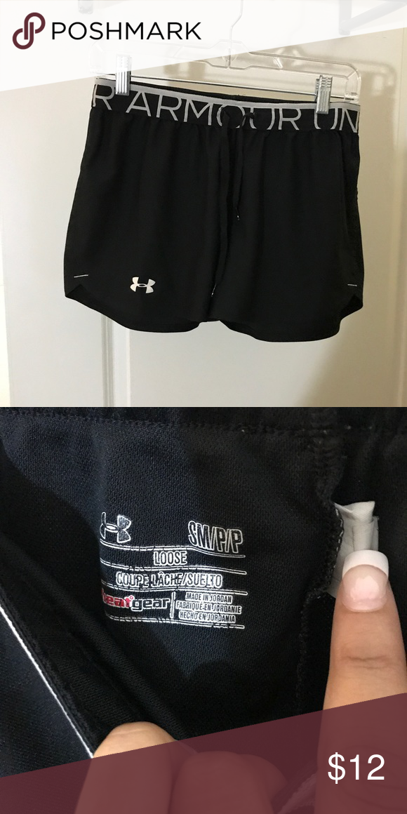 Black Under Armour Performance Shorts Under armor shorts, loose; heat gear Under Armour Shorts