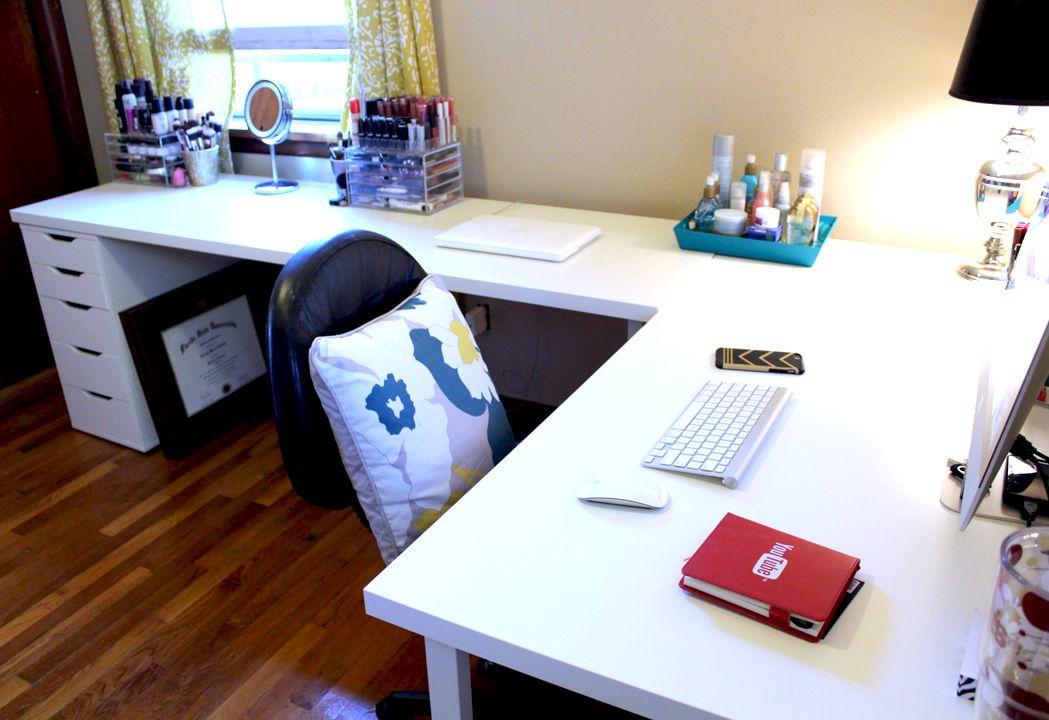 Ikea desks office makeover office makeover corner and for Bedroom l shaped desks