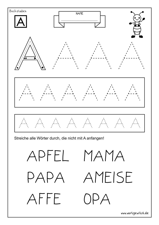 Kostenloses Arbeitsblatt   Buchstabe A – Unterrichtsmaterial im ...