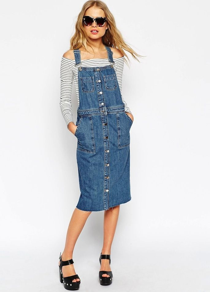 A Casual Chic Way To Wear A Denim Overall Dress (Le Fashion ...