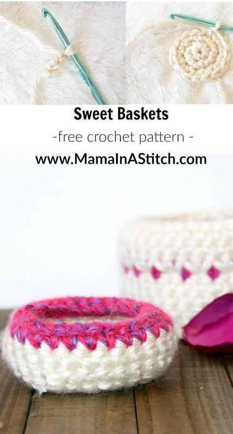 Jewelry Catchers Easy Free Crochet Baskets Pattern Via