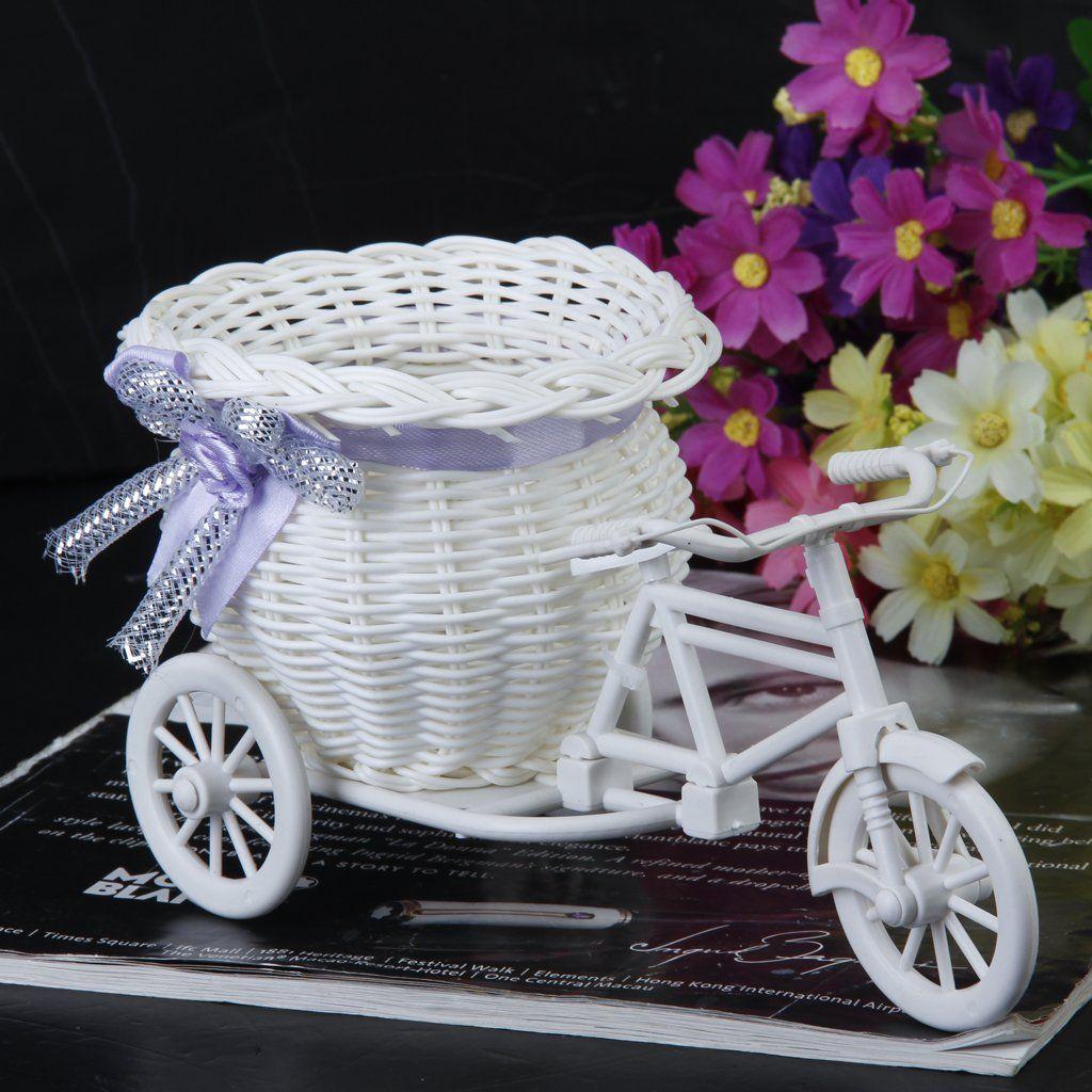 New Plastic White Tricycle Bike Design Flower Basket