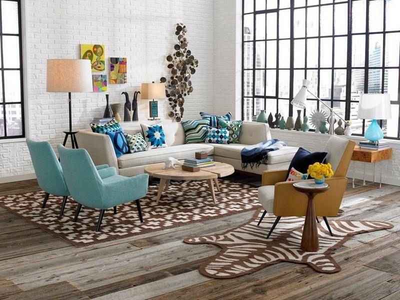 Retro Wohnzimmer Design mit Ohrensesseln und Ecksofa | Ideen rund ...