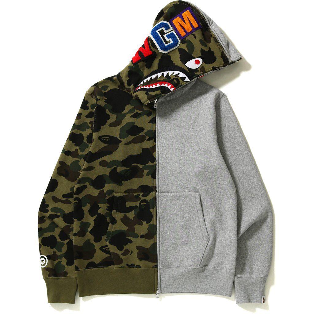 Bape 1st Camo Half And Half Full Zip Hoodie Green Grey Bape Cloth Bape Zip Up Hoodie Bape Hoodie Bape Outfits [ 1024 x 1024 Pixel ]