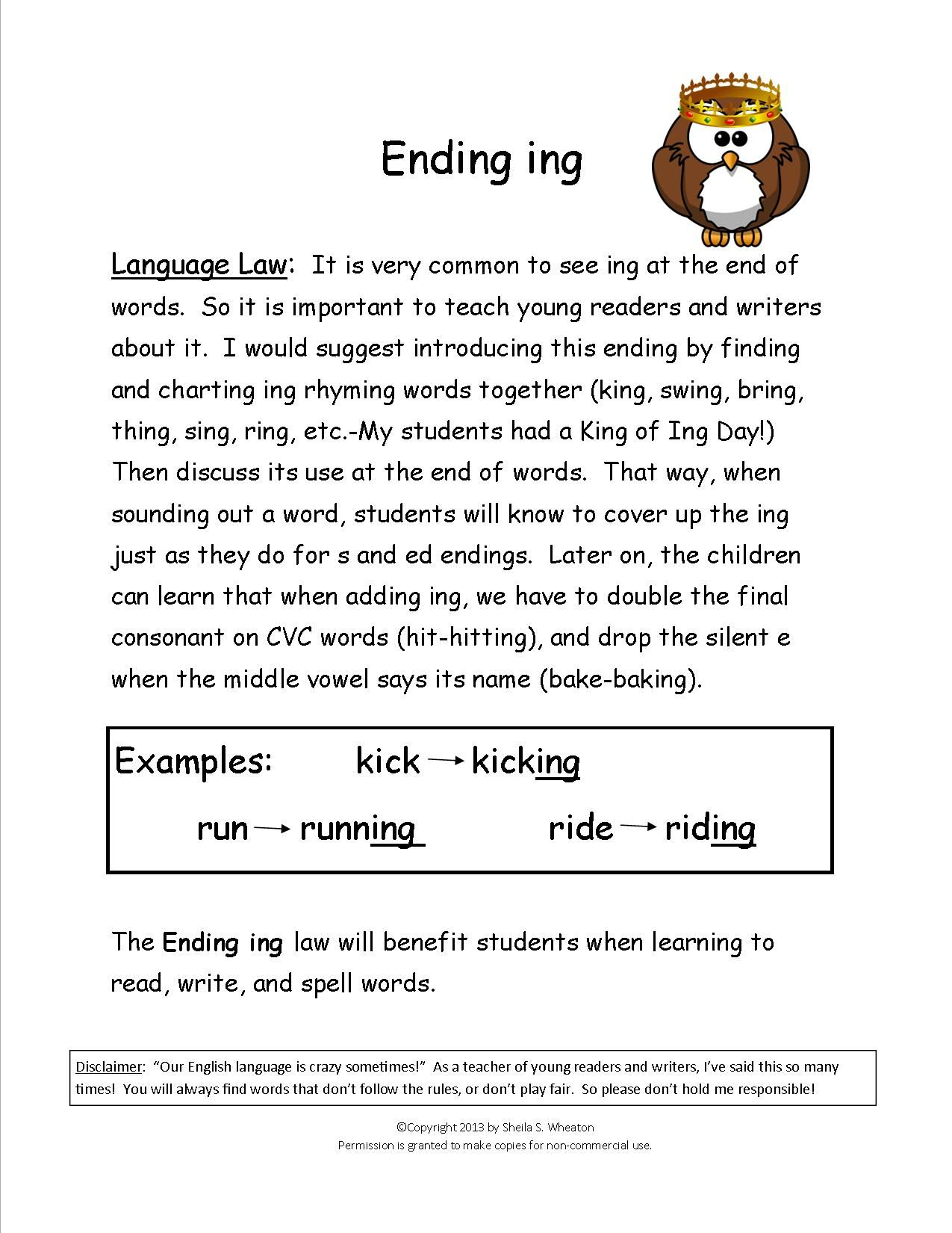 Ending Ing Adding Ing To The End Of Words