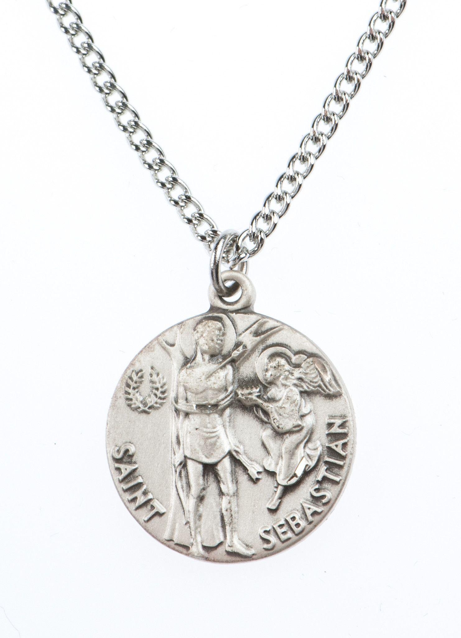 St sebastian saint medal pendant w18 chain by jeweled cross st sebastian saint medal pendant w18 chain by jeweled cross aloadofball Images