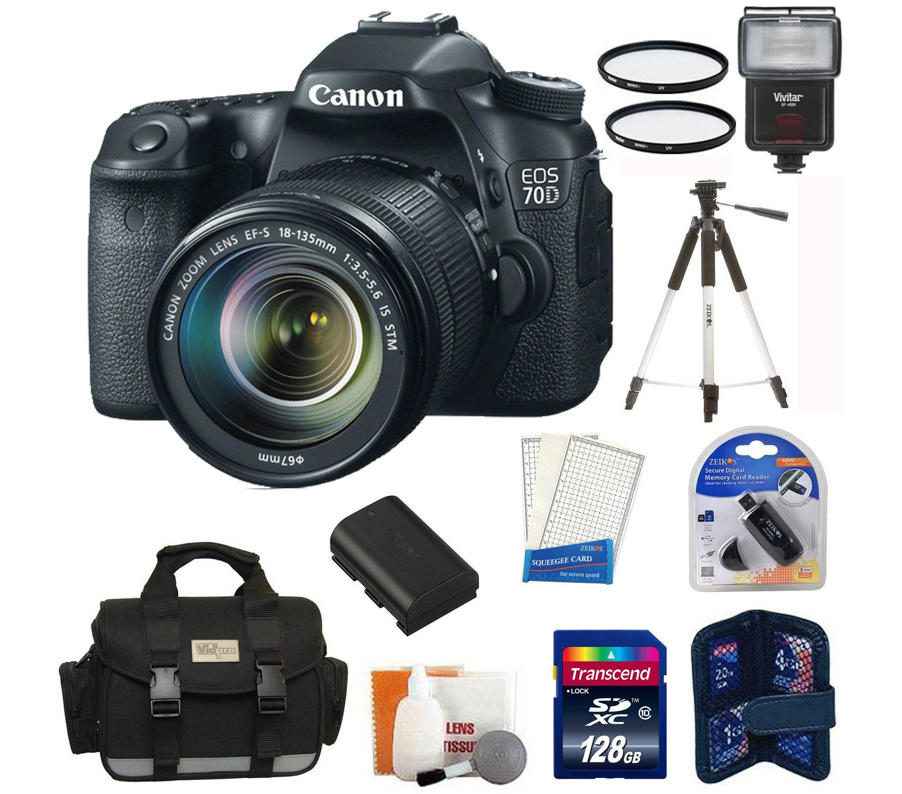 Canon EOS 70D DSLR Camera with 18-135mm STM f/3.5-5.6 Lens + High ...