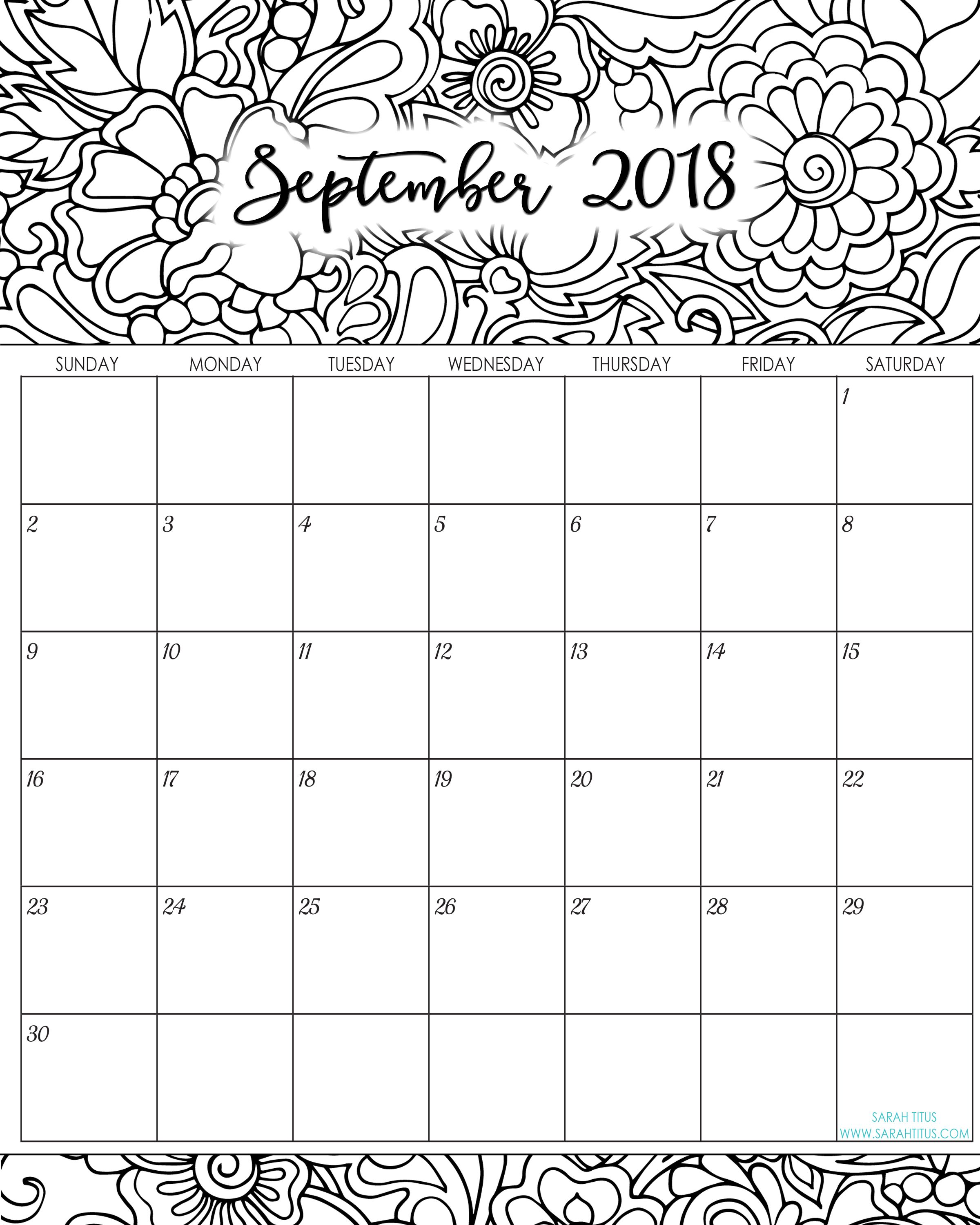 2018 Monthly Coloring Calendars Printables | Free printables and ...